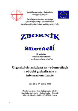 Zborník anotácií II. ročníka - Konferencie