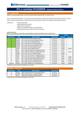 PFLEIDERER - HPL na DTD - vysoký lesk - cenník od