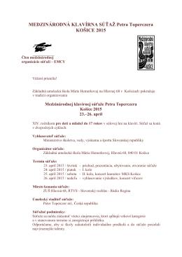 Propozície 2015 - ZUŠ MÁRIE HEMERKOVEJ v Košiciach