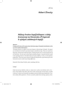 Nálezy hrotov kopijí/oštepov z doby bronzovej na Slovensku