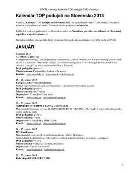 SACR: Kalendár TOP podujatí 2013