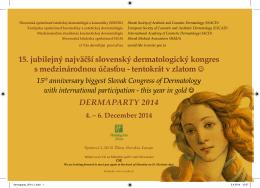 15. jubilejný najväčší slovenský dermatologický kongres s
