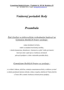 Gymnázium školských bratov, Čachtická 14, 831 06