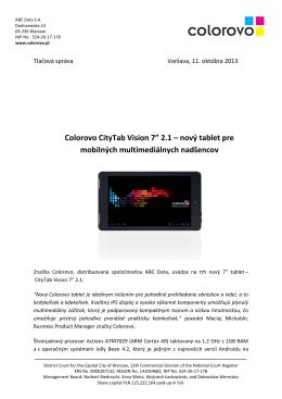 """Colorovo CityTab Vision 7"""" 2.1 – nový tablet pre"""