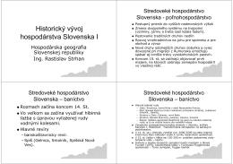 Historický vývoj hospodárstva Slovenska I
