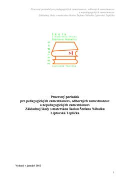 Pracovný poriadok školy - ZŠ s MŠ Štefana Náhalku