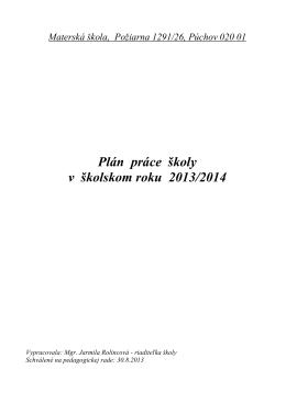 Plán práce školy v školskom roku 2013/2014