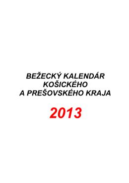 Bežecký kalendár 2013 v KE a PO