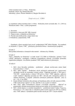 Zápisnica zo zasadnutia VMČ 4 zo dňa 13.1.2014