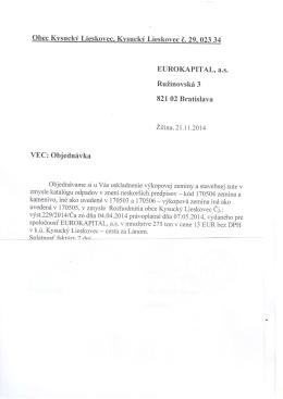 EUROKAPfTAL. a.s. RuZinovski 3