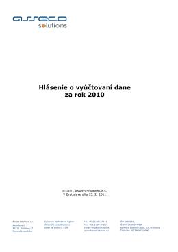 príručku Hlásenie o vyúčtovaní dane za rok 2010