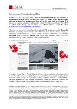 Cez webkamery v Tatrách k reálnym zážitkom VYSOKÉ TATRY