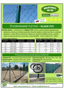 ŠTVORHRANNÉ PLETIVO – KLASIK PVC