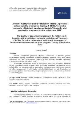 Zvýšenie kvality vzdelávania v študijnom odbore Logistika