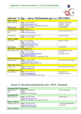 Adresár 6. ligy 2013-2014 okres Partizánske