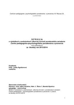 Správa o činnosti zariadenia 2013/2014