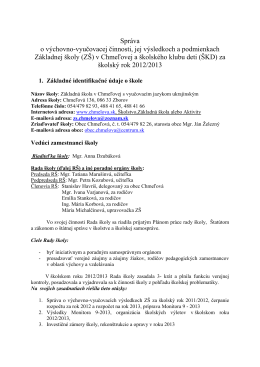 Správa o VVV za šk rok 2012-2013