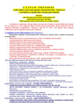 protokol o odovzdaní a prevzatí agendy starostu z 29.11