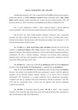Správa o činnosti OZJ v SR v roku 2013
