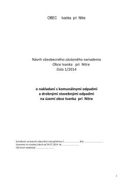 VZN 1/2014 - návrh - o nakladaní s odpadmi