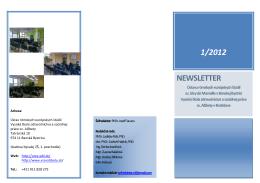 Newsletter č. 1 - 2012