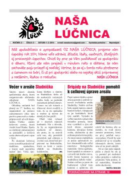 Číslo 1/2014 - Občianske združenie NAŠA LÚČNICA, vydavateľ