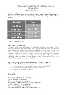 Cenník pripojenia do internetu cez KreditNet 512 kbps 7,37 EUR