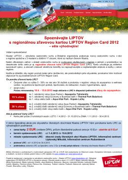 Spoznávajte LIPTOV s regionálnou zľavovou kartou