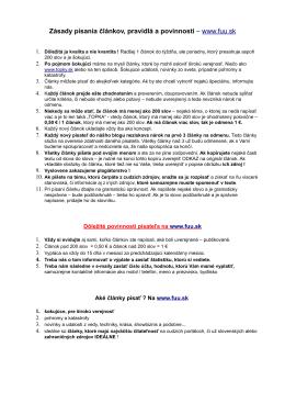 Zásady písania článkov, pravidlá a povinnosti – www.fuu.sk