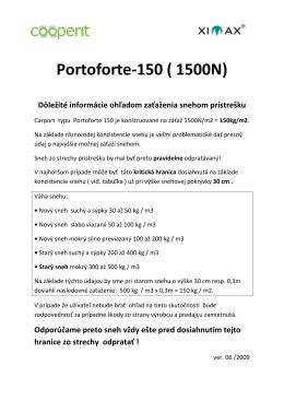 Portoforte 150 Zaťaženie snehom - auto