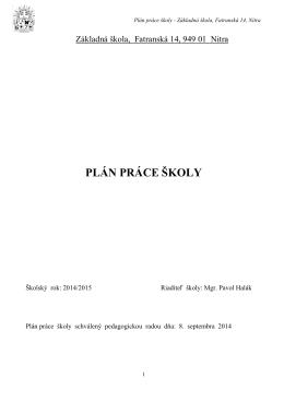 Plán práce školy 2014/2015 - Základná škola