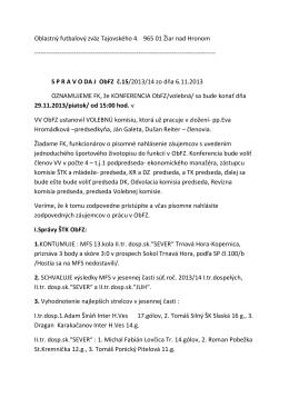 Oblastný futbalový zväz Tajovského 4. 965 01 Žiar
