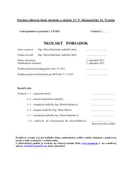 školský poriadok - Stredná odborná škola obchodu a služieb