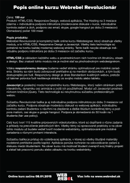 Popis online kurzu Webrebel Revolucionár