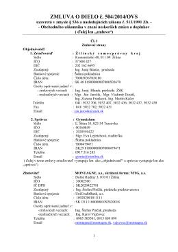 ZMLUVA O DIELO č. 504/2014/OVS