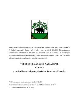 VZN č. 3/2014 o zneškodňovaní odpadových vôd