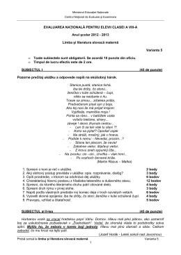 2013 Limba și literatura slovacă maternă Varianta 5