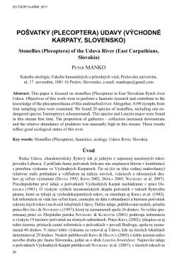 pošvatky (plecoptera) udavy (východné karpaty, slovensko)
