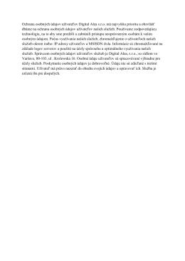 Ochrana osobných údajov užívateľov Digital Alea - Mobile