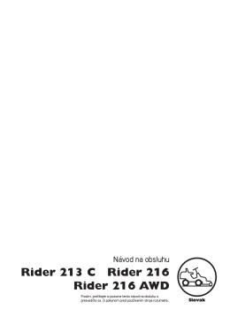 OM, Rider 213 C, Rider 216, Rider 216 AWD, 2012
