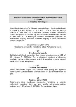 Všeobecné záväzné nariadenie 4/2012 o miestnej dani za psa