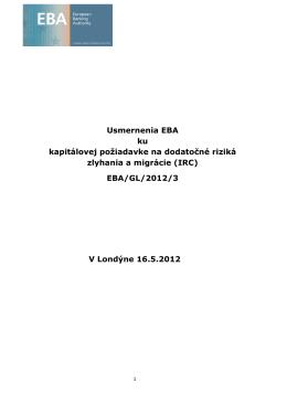 Usmernenia EBA ku kapitálovej požiadavke na dodatočné