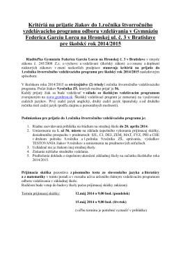 Kritériá 4.roč. - 2014 - Gymnázium Federica Garcíu Lorcu