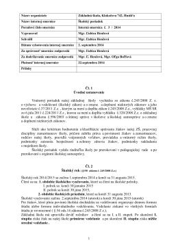 Školský poriadok - Základná škola Klokočova 742 Hnúšťa