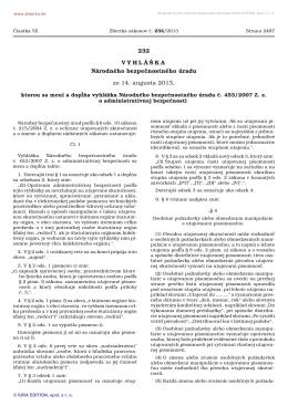 232/2013 Vyhláška Národného bezpečnostného úradu, ktorou sa