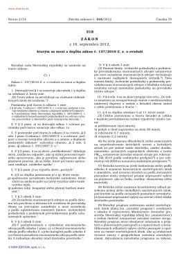 318/2012 Zákon, ktorým sa mení a dopĺňa zákon č. 137