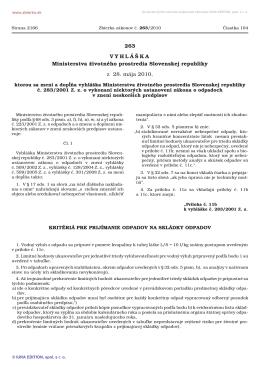 263/2010 Vyhláška Ministerstva životného prostredia