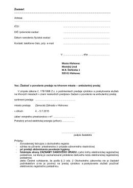 Žiadosť o povolenie predaja na trhovom mieste