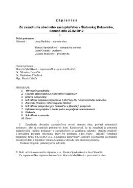 Zápisnica zo zasadnutia OZ zo dňa 22.02.2012