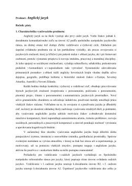 Anglický jazyk - ZŠ Hroncova 23